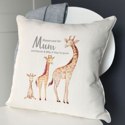 Personalised Reserved For… Giraffe Cushion